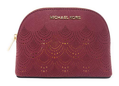 Michael Kors Jet Set Travel Saffiano Leather Women's Large Travel Pouch Cosmetic Case with Gold Toned Lace Accents ()