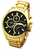 Firewings Gold Plated Tank Metal Band Mens Black Face Watch Fashion Casual Quartz Wrist Watches