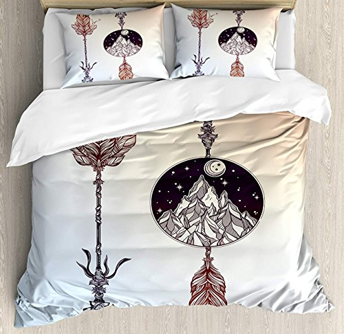 (Fandim Fly Occult Bedding Set Full Size, Native American Boho Elements with Feather and Rocky Mountain Arrow Ethnic Design,Comforter Cover Sets for All Season, Sepia Blue)