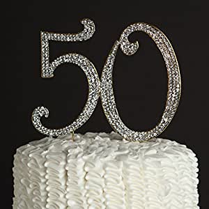 50 Cake Topper Gold 50th Birthday or Anniversary Party Rhinestone Number Decoration (Gold)