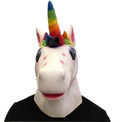 LEIU Máscara de Unicornio Sombrero Rosa Corazón de niña Arco Iris de Caballo Halloween Látex Sombrero