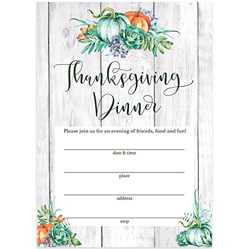Rustic Thanksgiving Dinner Invitations & Envelopes (Pack of 25) Welcome Family & Friends Share The Harvest Feast Large 5 x 7 Fill in Style Country Theme Turkey Day Meal Invites Excellent Value