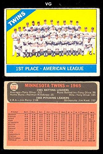 1966 Topps Regular (Baseball) Card# 526 Twins Team of the Minnesota Twins VG - Twins 1966 Minnesota