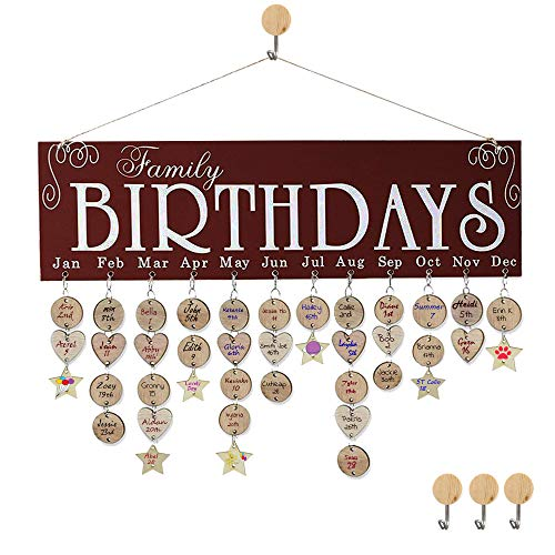 Wooden Family Birthday Reminder Calendar Board Decorative Birthday Tracker Plaque Wall Hanging Remember Important Days with Tags Gifts for Moms Dads]()