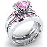 Gorgeous 925 Silver Fashion Women Jewelry 2pc Wedding Ring Size 6-10 (7)