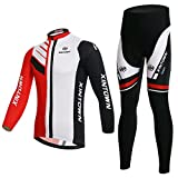 BESYL Unisex Printed High-Performance Mesh Cycling Clothing Suit, Breathable Long Sleeve Cycling Jersey and Bib Padded Pants Kit for Bicycle Bike Riding Biker (Red White Black)