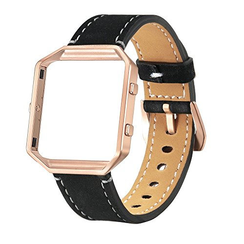 Price comparison product image Band + Frame For Fitbit Blaze; Mosunx Luxury Genuine Leather Watch band Wrist strap + Metal Frame For Fitbit Blaze Smart Watch (Black)