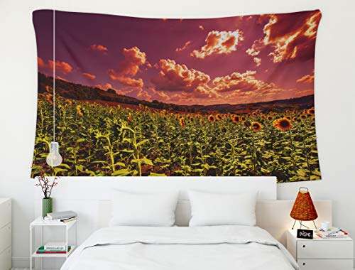 Shorping Men Tapestry Wall Hanging,Watercolor Halloween Pumpkin,Tapestry, 60x50 Inch Tapestries for Home and Bedroom Décor Sunflowers Plantation in Tuscany farmland Landscape at Sunset]()