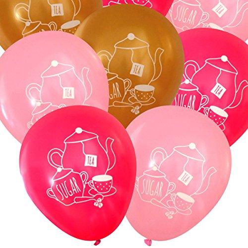 Tea Party Latex Balloons (16 pcs) by Nerdy Words (Pinks & (Princess Teaspoon)