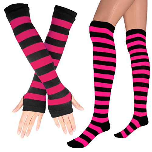 Womens Extra Long Striped Socks(Over Knee High Opaque Stockings) & Long Arm Warmer Gloves(Punk Gothic Rock) (Black & Rose, OneSize)