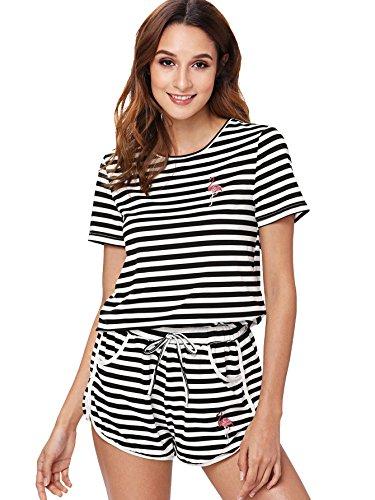 nt Cuffed Top and Polka Dot Shorts Pajama Set Black XL ()