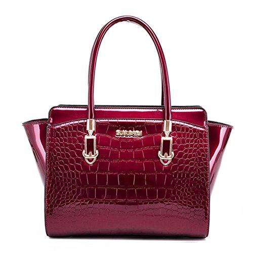 en de de brevet modèle modèle crocodile de cuir mode Rose de Rouge d'épaule de SANSJI cuir Sac à diagonale de main Bw7ZIq78