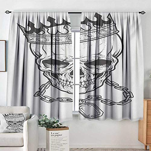 Mozenou King Blackout Window Curtain Sketchy Skull with Crown Hip Hop Street Style Necklace Chain Gem Image Print Bedroom Blackout Curtains 55