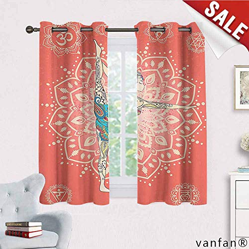 (Big datastore Yoga Decor Collection Curtain Set for Living Room,Yoga Geometric Element Ornament Background Kaleidoscope Medallion Yoga India Picture Thermal Insulated Tie Up,Coral Blue Pink W63 x L72)