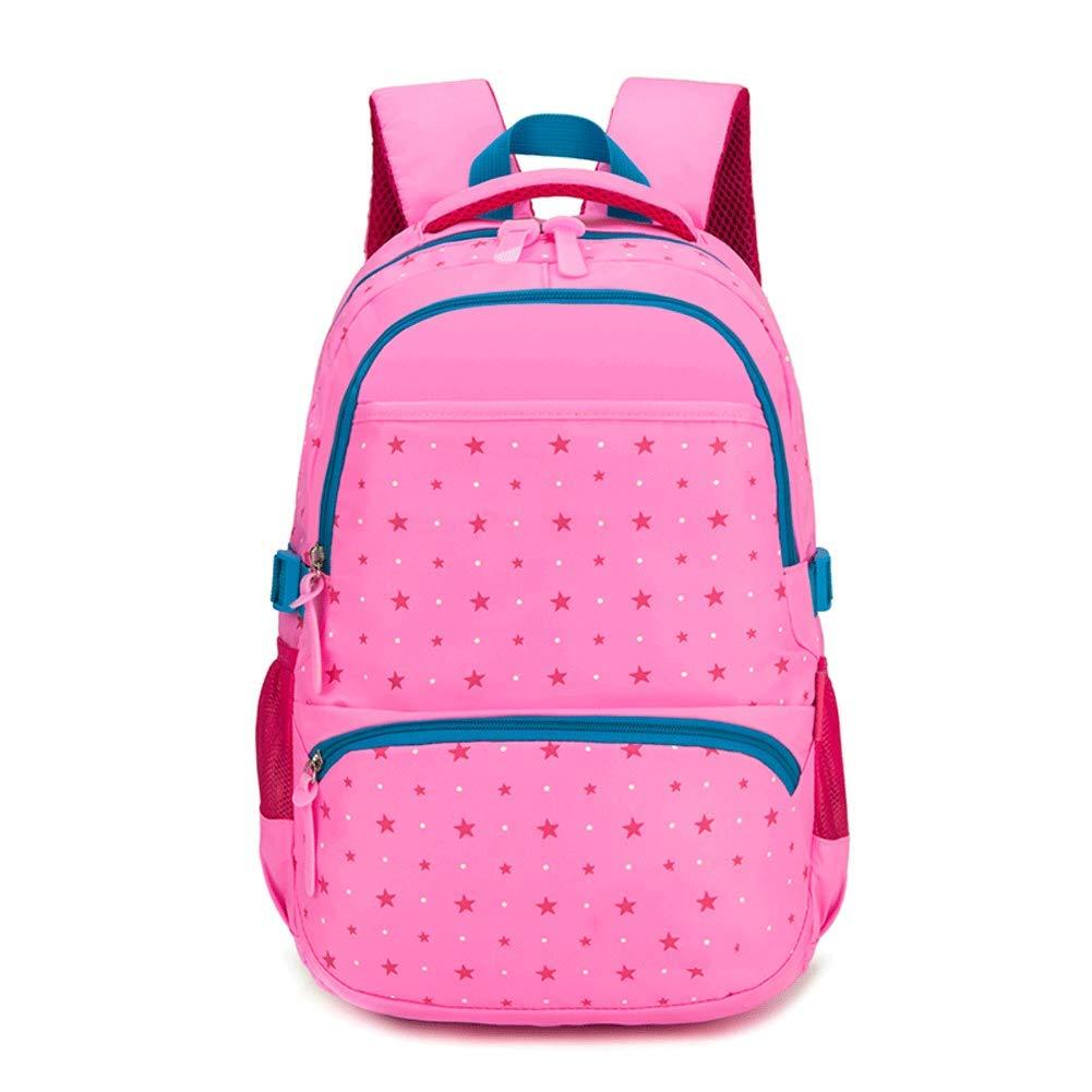 Großraum Schultasche für Grund- und Mittelschüler - Nylon entspannter Rucksack, Breite 30cm, Dicke 18cm, Höhe 46cm,Rosa