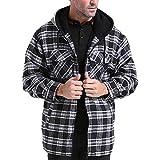 SEMARO Men Plaid Zipper Hoodie Long Sleeve Cotton Warm Fleece Thick Jacket (Black-White, XL)