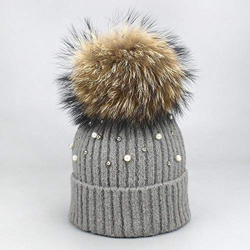 FUMAK New Wool Beanies Women Real Natural Fur Pom Poms Fashion Pearl Knitted Hat Girls Female Beanie Cap Pompom Winter Hats for Women (G)