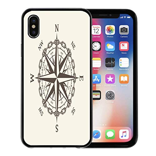 Semtomn Phone Case for Apple iPhone Xs case,Vintage Wind Rose Nautical Compass for Marine and Heraldry Cartography Adventure for iPhone X Case,Rubber Border Protective -