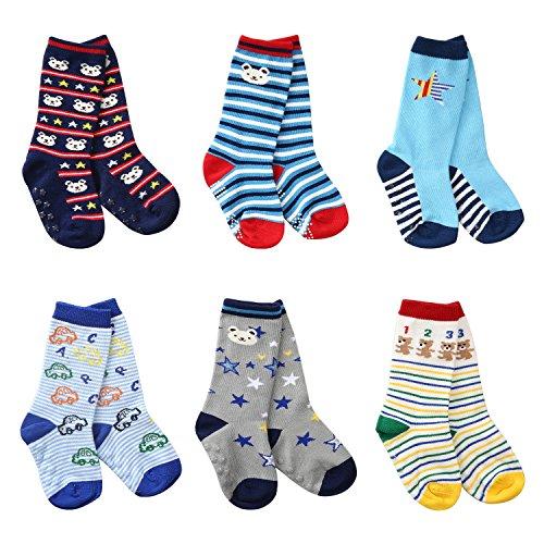 6 Pairs Toddler Socks Non Skid Cotton Socks with Grip Baby Boy Knee High Socks by Flanhiri (1-3 Years, 6 pairs/ assorted -