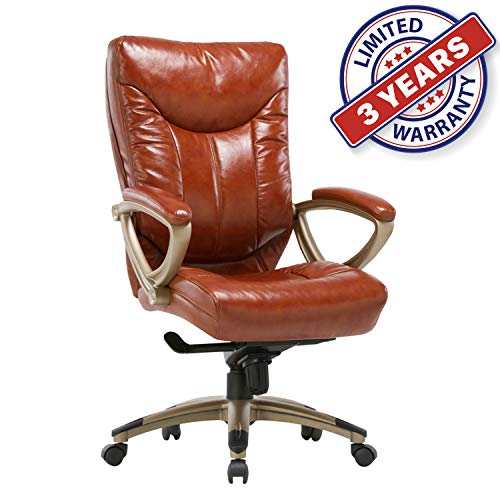 - Executive Bonded Leather Chair with Lean Forward High Back and Comfort Padding Ergonomic Seat for Managerial Office Home