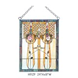HF-129 Rural Vintage Tiffany Style Stained Church Art Glass Decorative Floral Rectangle Window Hanging Glass Panel Suncatcher, 24''H18''W