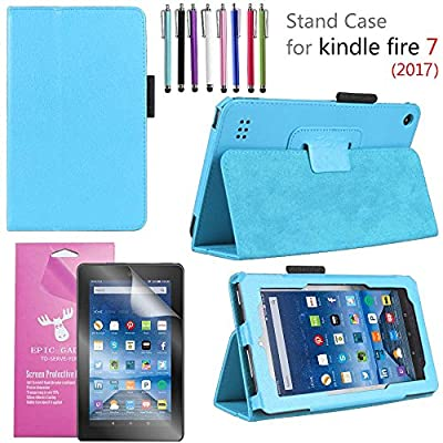 """Amazon Fire 7"""" 2017 Case, EpicGadget(TM) 7th Generation Fire 7 Premium PU Leather Folding Folio Case with Built in Stand For Fire 7 inch (2017 Release) + 1 Screen Protector and 1 Stylus"""