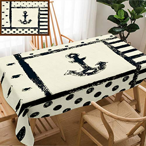 - Unique Custom Design Cotton and Linen Blend Tablecloth Anchor Decor Grunge Murk Boat Anchor Silhouette with Polka and Stripe Retro Patterns Navy Tablecovers for Rectangle Tables, Small Size 48