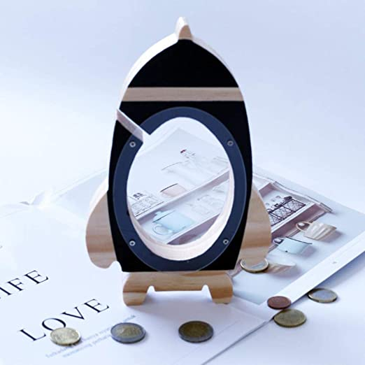 QWER Hucha Juguete Niños Caja de Dinero Moneda en Efectivo Caja de Ahorro Caja Tarro, Cohete Negro: Amazon.es: Hogar