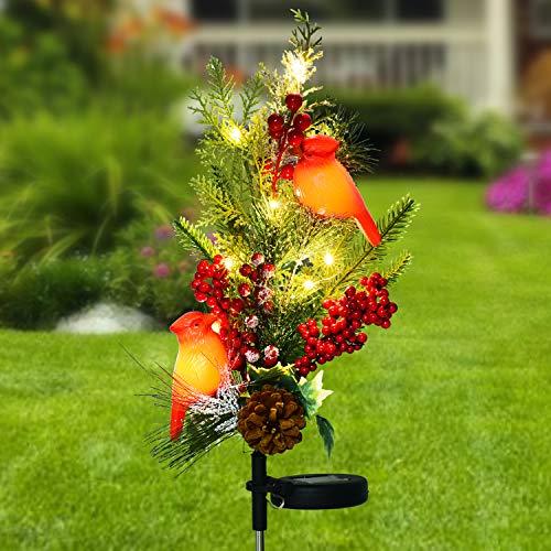 Doingart Outdoor Solar Christmas Garden Lights, Red Snow Bird Decorative Christmas Stake Light with Faux Pine Cones, Foliage Accents Garden Decor