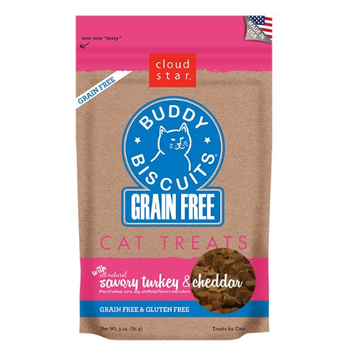 Cloud Star Grain Free Buddy Biscuits for Cats, Savory Turkey and Cheddar, 3 Ounce Turkey Cheddar