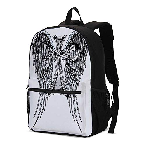 Gothic Decor Fashional Backpack,Heraldic Wing and Cross Belief Ancient Symbol of Power Royalty Artistic Design for School Travel,12.2