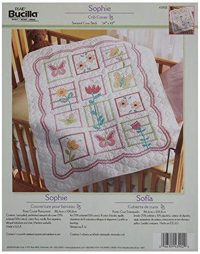 Bucilla Stamped Cross Stitch Crib Cover Kit, 34 by 43-Inch, 43902 Sophie