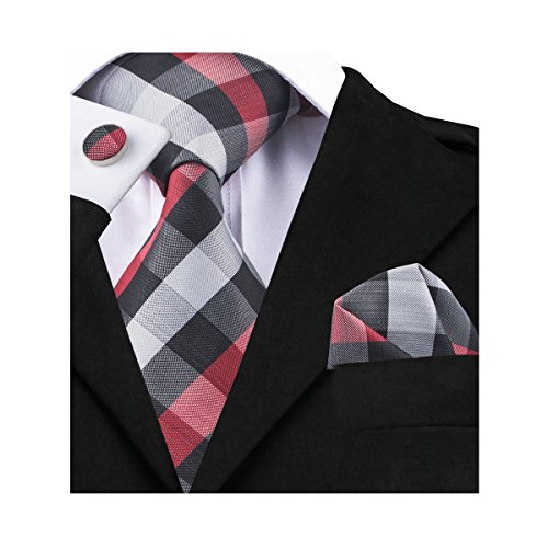 Barry.Wang Men's Ties Classic Woven Tie Set Red - Grey Red