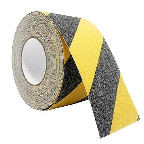 Reliancer Anti Slip Safety Grip Tape 4inx60ft Non Skid Tread Safety Tape with High Traction Grit Yellow & Black Marking Self-Adhesive Tape Hazard Caution Warning Tape for Stairs Steps Deck(4 ×60')
