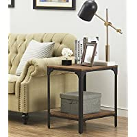 "O&K Furniture 24"" Height Square End/Side Table/Night Stand with Storage Shelf, Brown"