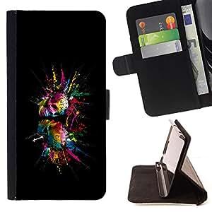 BullDog Case - FOR/Sony Xperia M2 / - / Color Splash Skulls Skull /- Monedero de cuero de la PU Llevar cubierta de la caja con el ID Credit Card Slots Flip funda de cuer