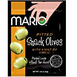 Mario Camacho Foods Pitted Snack Olives, Seasoned Green Garlic Olives, 1.05 Ounce (Pack of 12) For Sale