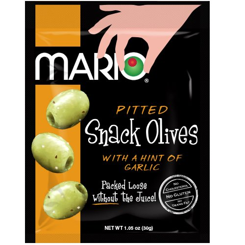 Mario Camacho Foods Pitted Snack Olives, Seasoned Green Garlic Olives, 1.05 Ounce (Pack of 12)