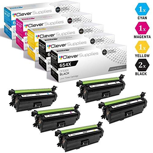 CS Compatible Toner Cartridge Replacement for HP 654X HP 654A CF330X Black CF331A Cyan CF333A Magenta CF332A Yellow Color Laserjet Enterprise M651dn M651n M651xh M680dn M680f 5 Color Set