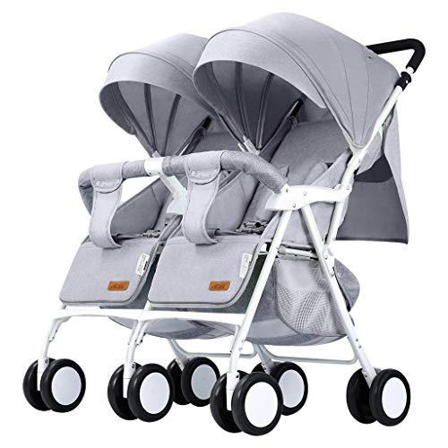 Double Stroller Convenience Urban Twin Carriage Stroller Tandem Collapsible Stroller All Terrain Double Pushchair for Toddler Girls and Boys Stable Stroller Frame with Bag Organizer (Color : 1)
