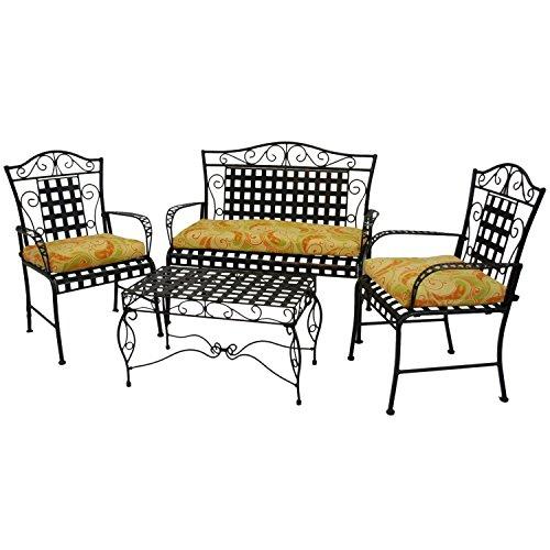 Blazing Needles Patterned Outdoor Spun Polyester Settee Cushion Set, Set of 3, Westport Teal ()
