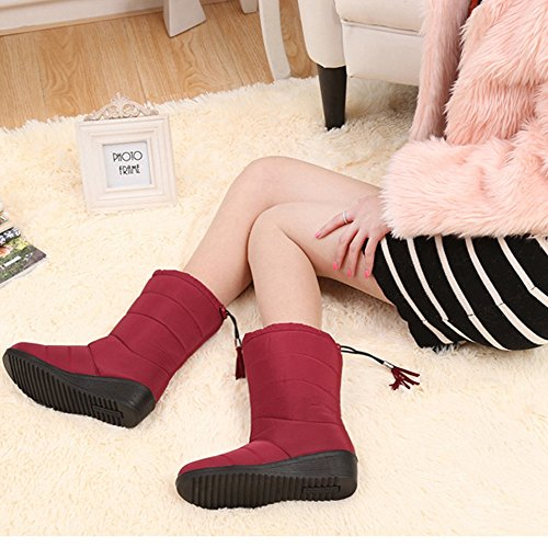 Snow Warm YING Faux Lightweight Fur Cozy LAN Women's Resistant Winter Red Boots Water Lining PSxaUqPr