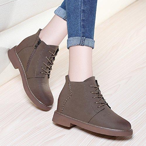 AJUNR-Zapatos De Mujer De Moda El Otoño Y El Invierno Botas Hembra Nueva Versión Coreana De La Moda Para Aumentar Los Alumnos Martin Botas Botas Gruesas Un Par De Caqui 37 36