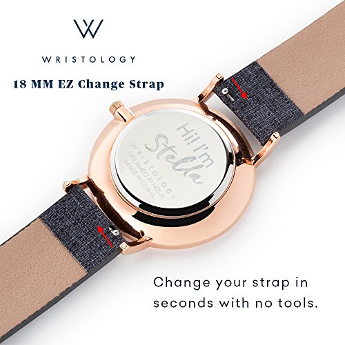 WRISTOLOGY Olivia Womens Numbers Boyfriend Watch Gold Brown Leather Strap by Wristology (Image #4)