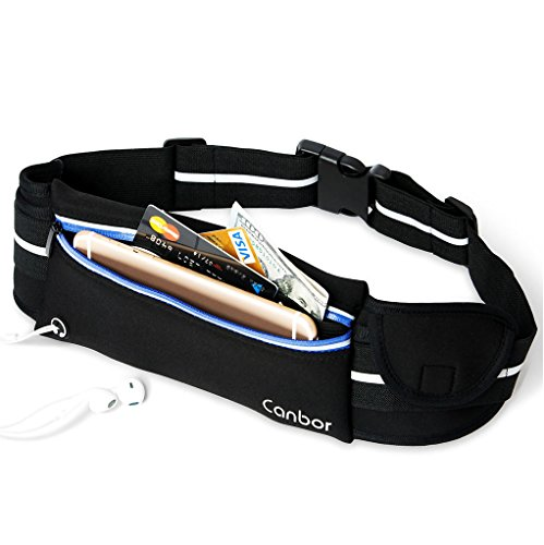 Belt Canbor Waist Pack Pouch Bag Fanny Pack Sports Storage Belt for Apple iPhone iPod Samsung Galaxy Note and More, for Men Women Workout Exercise Gym Jogging Walking - Black (Ipod Waist Belt)