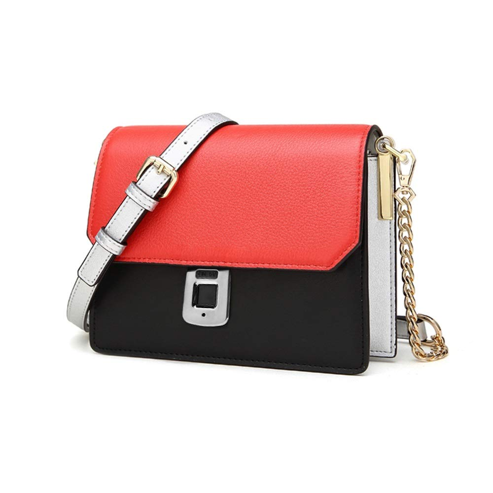 Znesd Women's Fashion Diagonal Bag with Fingerprint Unlock, high-tech Smart Fingerprint Bag for Easy Travel, can Also be Used as a Shoulder Bag (Color : Red) by Znesd