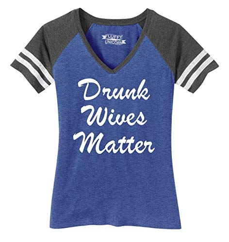 Ladies Game V-Neck Tee Drunk Wives Matter Heathered True Royal/Heathered Charcoal - Drunk T-shirt Womens Light
