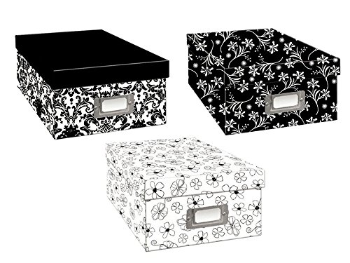Set of 3 Pioneer B1BW Black & White Assorted Design Photo Storage Box bundled by Maven Gifts from Pioneer Photo Albums