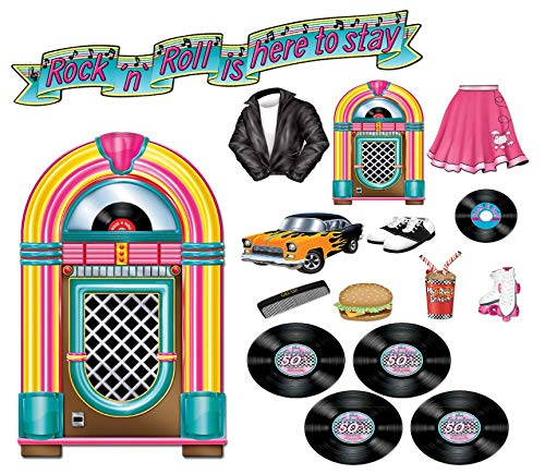 Beistle Fabulous 50's Party Decorations Kit with Record