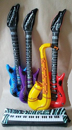 5 Instrumente Luftgitarren Saxophon Klavier Kindergeburtstag Karneval